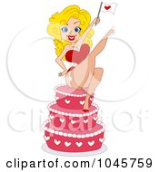 Royalty Free RF Clip Art Illustration Of A Blond Pinup Woman Holding A Heart Flag On A Cake
