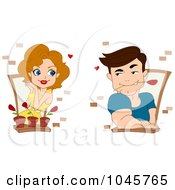 Royalty Free RF Clip Art Illustration Of A Couple Admiring Each Other Through Windows
