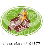 Royalty Free RF Clipart Illustration Of A Man Opering A Ride On Lawn Mower Logo