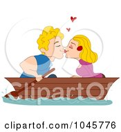 Royalty Free RF Clip Art Illustration Of A Couple Kissing In A Boat by BNP Design Studio