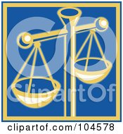 Royalty Free RF Clipart Illustration Of A Yellow Scales Of Justice On Blue