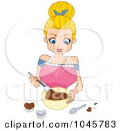 Royalty Free RF Clip Art Illustration Of A Blond Pinup Woman Mixing Chocolate