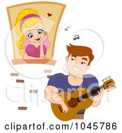 Royalty Free RF Clip Art Illustration Of A Man Serenading Woman In A Window