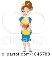 Royalty Free RF Clip Art Illustration Of A Brunette Pinup Woman Serving A Valentine Heart Cake
