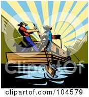 Royalty Free RF Clipart Illustration Of Cowboys Steering A Flatboat On A River