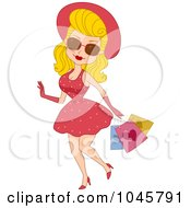Royalty Free RF Clip Art Illustration Of A Pinup Woman Valentines Day Shopping