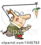Royalty Free RF Clip Art Illustration Of A Cartoon Businessman Chasing A Carrot Lead