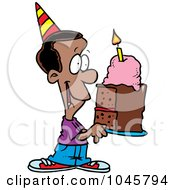 Royalty Free RF Clip Art Illustration Of A Cartoon Black Birthday Boy Holding A Slice Of Cake by toonaday