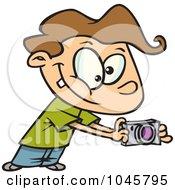 Royalty Free RF Clip Art Illustration Of A Cartoon Boy Using His Camera by toonaday