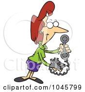 Royalty Free RF Clip Art Illustration Of A Cartoon Businesswoman Holding A Desk Phone