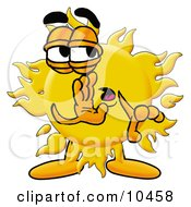 Clipart Picture Of A Sun Mascot Cartoon Character Whispering And Gossiping by Toons4Biz