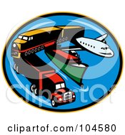 Royalty Free RF Clipart Illustration Of A Transport Logo With A Big Rig Train Ship And Airplane by patrimonio