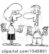Royalty Free RF Clip Art Illustration Of A Cartoon Black And White Outline Design Of A Wealthy Couple Holding Cash