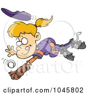 Royalty Free RF Clip Art Illustration Of A Cartoon Girl Diving To Catch A Baseball