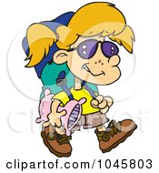 Royalty Free RF Clip Art Illustration Of A Cartoon Camper Girl Carrying Her Gear by toonaday