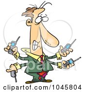 Royalty Free RF Clip Art Illustration Of A Cartoon Businessman Handling Multiple Cell Phones by toonaday