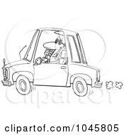 Royalty Free RF Clip Art Illustration Of A Cartoon Black And White Outline Design Of A Businessman Talking On A Phone And Driving by toonaday