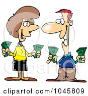 Royalty Free RF Clip Art Illustration Of A Cartoon Wealthy Couple Holding Cash by toonaday