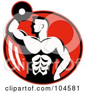 Royalty Free RF Clipart Illustration Of A Bodybuilder With A Dumbbell Logo
