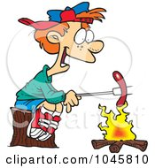 Royalty Free RF Clip Art Illustration Of A Cartoon Boy Roasting A Weenie Over A Campfire by toonaday