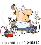 Royalty Free RF Clip Art Illustration Of A Cartoon Businessman Using Jumper Cables