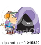 Royalty Free RF Clip Art Illustration Of A Cartoon Hiker Boy Seeing Eyes In A Cave by toonaday