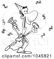Royalty Free RF Clip Art Illustration Of A Cartoon Black And White Outline Design Of A Black Businessman Celebrating At A Party