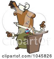 Royalty Free RF Clip Art Illustration Of A Cartoon Black Politician At A Podium by toonaday