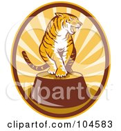 Royalty Free RF Clipart Illustration Of A Circus Tiger Logo by patrimonio