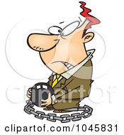 Royalty Free RF Clip Art Illustration Of A Cartoon Chained Businessman Carrying A Ball by toonaday