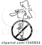 Royalty Free RF Clip Art Illustration Of A Cartoon Black And White Outline Design Of A Prohibited Businesswoman