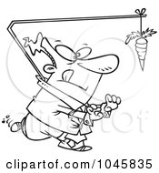 Royalty Free RF Clip Art Illustration Of A Cartoon Black And White Outline Design Of A Businessman Chasing A Carrot Lead