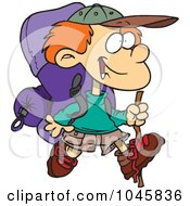 Cartoon Hiking Boy With Camping Gear