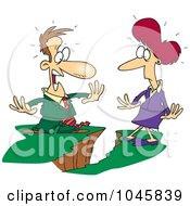 Cartoon Business Man And Woman Being Divided By A Chasm