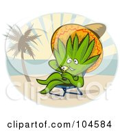 Royalty Free RF Clipart Illustration Of A Happy Agave Wearing A Hat And Sipping A Cocktail On A Tropical Beach
