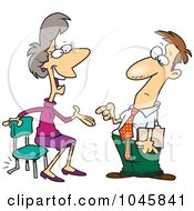 Royalty Free RF Clip Art Illustration Of A Cartoon Chatty Woman Sitting In A Broken Chair