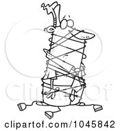 Royalty Free RF Clip Art Illustration Of A Cartoon Black And White Outline Design Of A Businessman Tangled In Cables