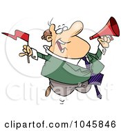 Royalty Free RF Clip Art Illustration Of A Cartoon Businessman Waving A Flag And Using A Megaphone by toonaday