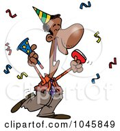 Royalty Free RF Clip Art Illustration Of A Cartoon Black Businessman Celebrating At A Party