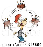 Royalty Free RF Clip Art Illustration Of A Cartoon Birthday Boy Juggling Cakes by toonaday