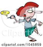 Royalty Free RF Clip Art Illustration Of A Cartoon Businesswoman Fed Up With Her Cell Phone
