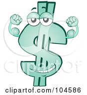 Royalty Free RF Clipart Illustration Of A Strong Green Dollar Symbol Character Flexing His Biceps