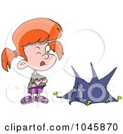 Royalty Free RF Clip Art Illustration Of A Cartoon Girl With A Tiny Tent by toonaday