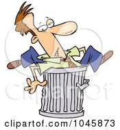 Royalty Free RF Clip Art Illustration Of A Cartoon Canned Businessman Stuck In A Garbage Can