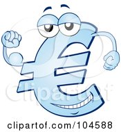 Royalty Free RF Clipart Illustration Of A Strong Blue Euro Symbol Character Flexing His Muscles by Holger Bogen