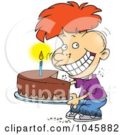 Royalty Free RF Clip Art Illustration Of A Cartoon Birthday Boy Eating An Entire Cake by toonaday