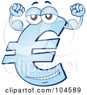 Strong Blue Euro Symbol Character Flexing His Biceps
