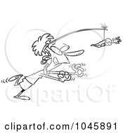 Cartoon Black And White Outline Design Of A Businesswoman Chasing After A Carrot