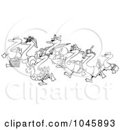 Royalty Free RF Clip Art Illustration Of A Cartoon Black And White Outline Design Of Seven Swans Going Swimming