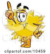 Sun Mascot Cartoon Character Pointing Upwards